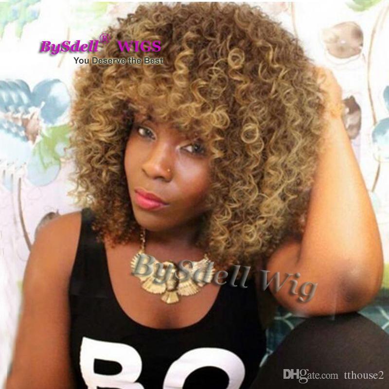 Güzellik Kısa Afro Kıvırcık Sentetik Saç Peruk Kinky Kıvırcık Koyu Kahverengi Siyah Kadınlar için Ombre Bal Sarışın İpucu Renk Saç Peruk