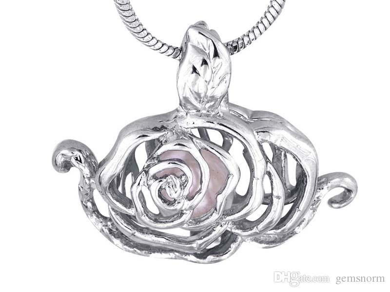 Sıcak Satış İstek Kaplama Gümüş Bükülmüş Moda şakayık Kafes Kolye Locket Çiçek Kafes Kolye Şakayık P31