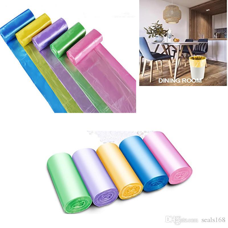 45 * 50см Мешок для мусора Мешки для мусора Для ванной комнаты Вкладыши для мусора Для спальни Домашняя кухня 7 Цвет 5 рулонов / комплект Сделать FBA HH7-461