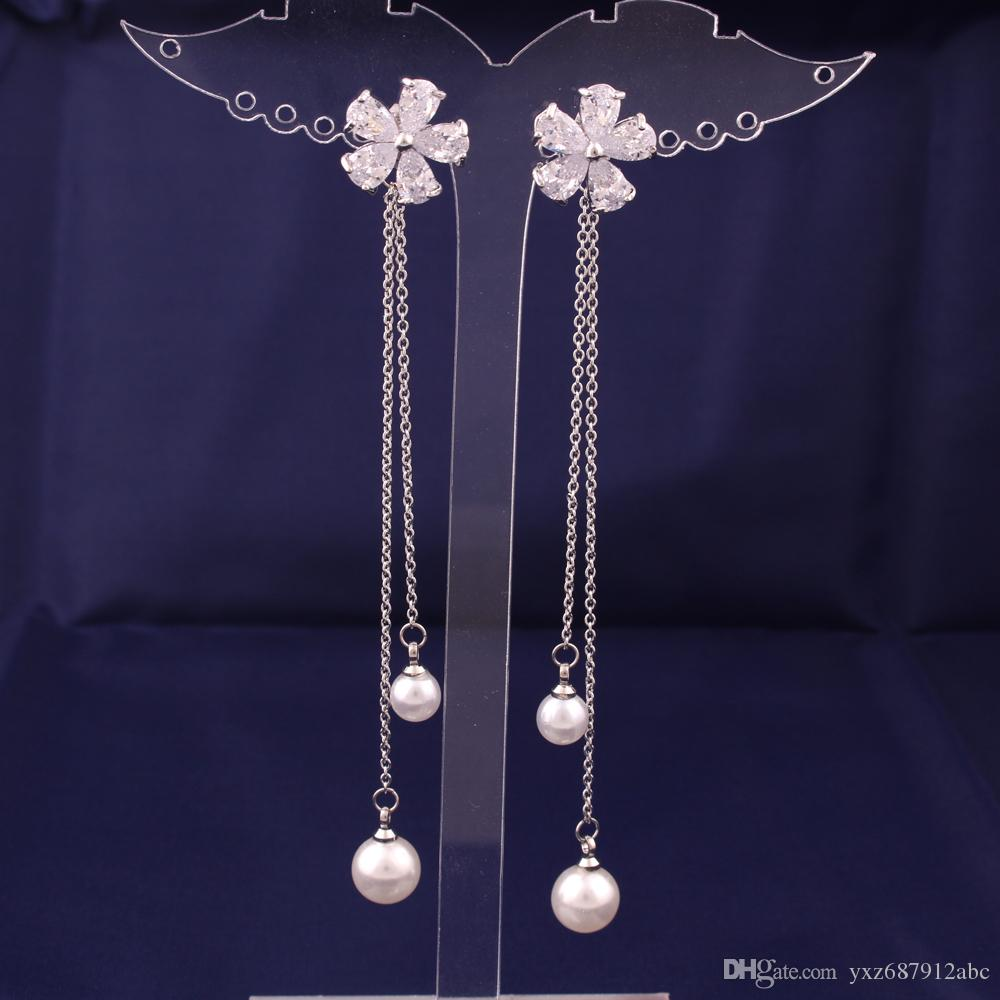 Zircon Flowers Drop Earrings Simulated Pearls After Hanging Luxury Romantic Party Tassel Earrings Gift Free Shipping