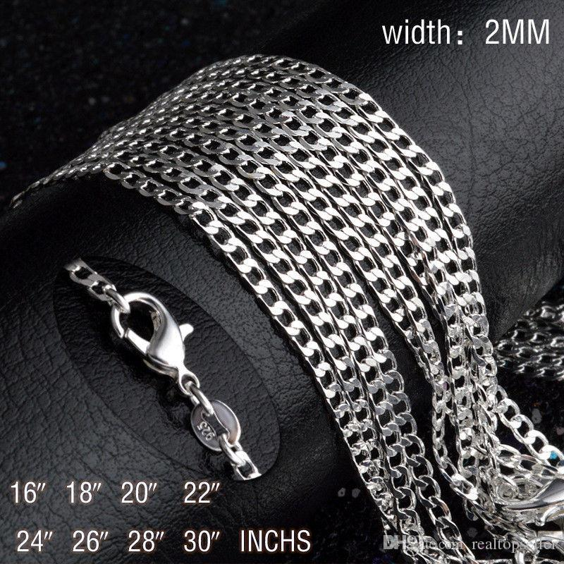 Fashion 925 Sterling Silver Necklace, 2MM 16inch 18inch 20 22 24inch 26inch 28 30 Figuro Curb Chain Necklace Women Men Jewelry Link Italy