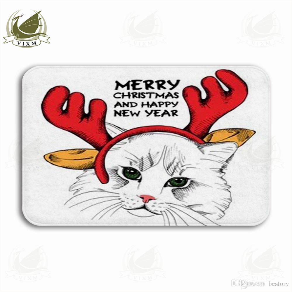Vixm Katze Porträt In Maske Santa'S Geweih Rentier Willkommen Türmatte Teppiche Flanell Anti-Rutsch-Eingang Indoor Küche Bad Teppich