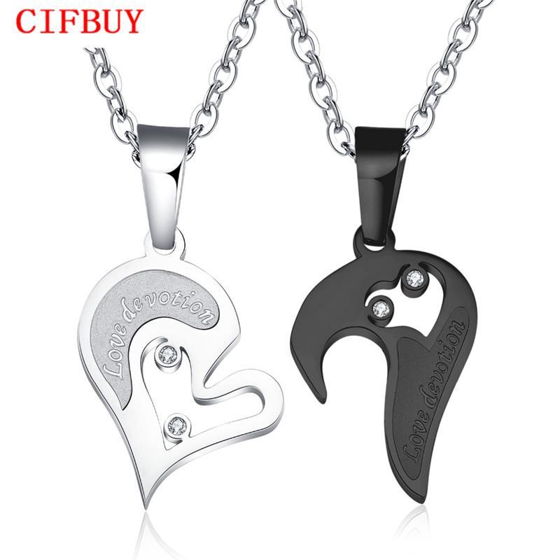 CIFBUY pendentifs coeur amour couple collier pour CZ strass incrustés amant. Couleur or rose libre en acier inoxydable expédition 537
