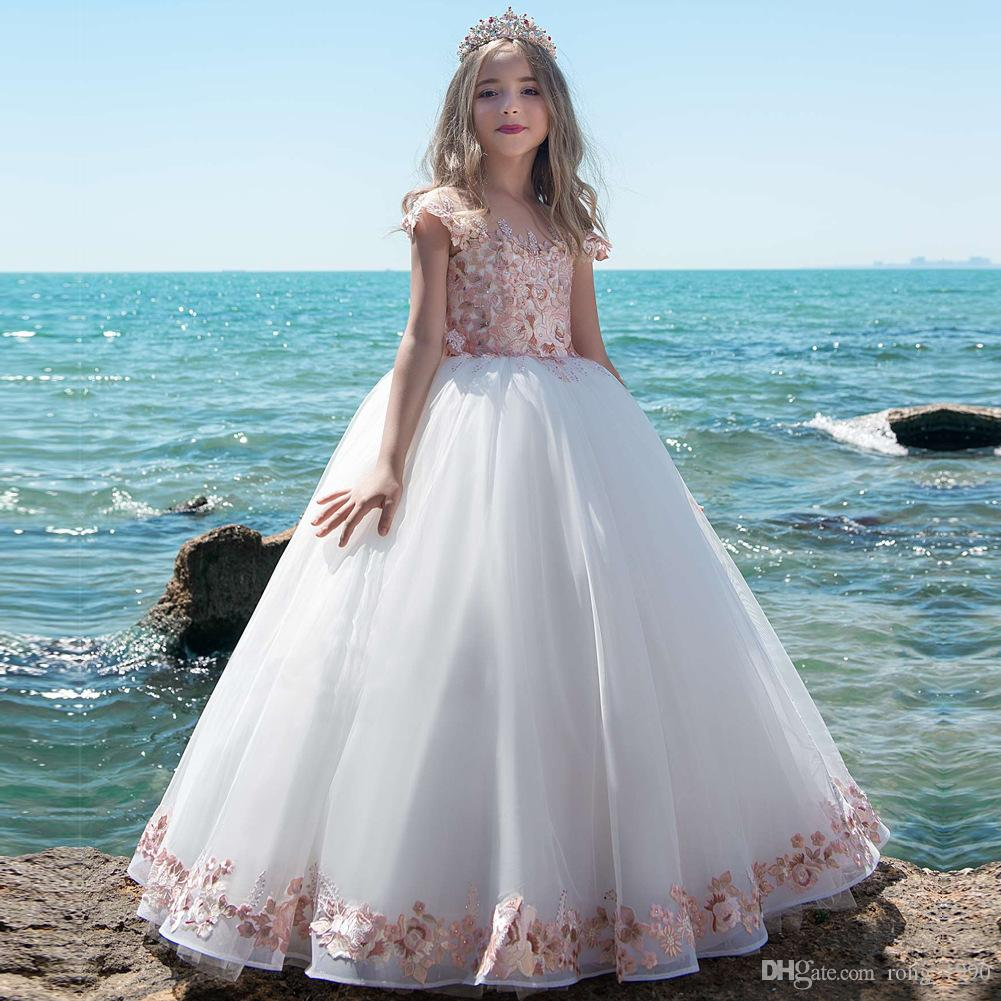 Luxury Beaded Rhinestone Lace Flower Girl Dress Corset Ball Gown For ...