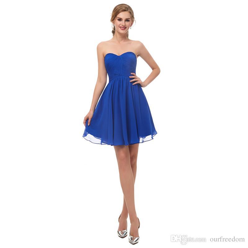 Sous 50 $ 2019 2019 Royal Blue Sweetheart Cou Homecoming Robes Courtes Mini Zipper Back Homme d'honneur Mariage Robe d'invité pas cher en stock
