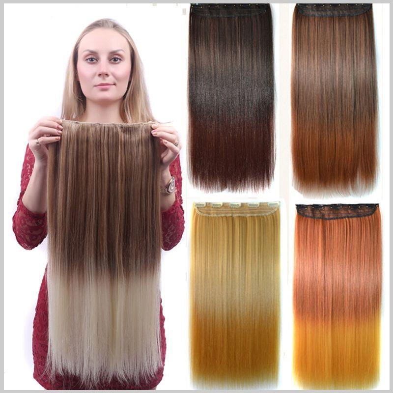 """24см 24"""" наращивание волос женской ширины прямых пяти клипов на части волос одна части для полной головки"""
