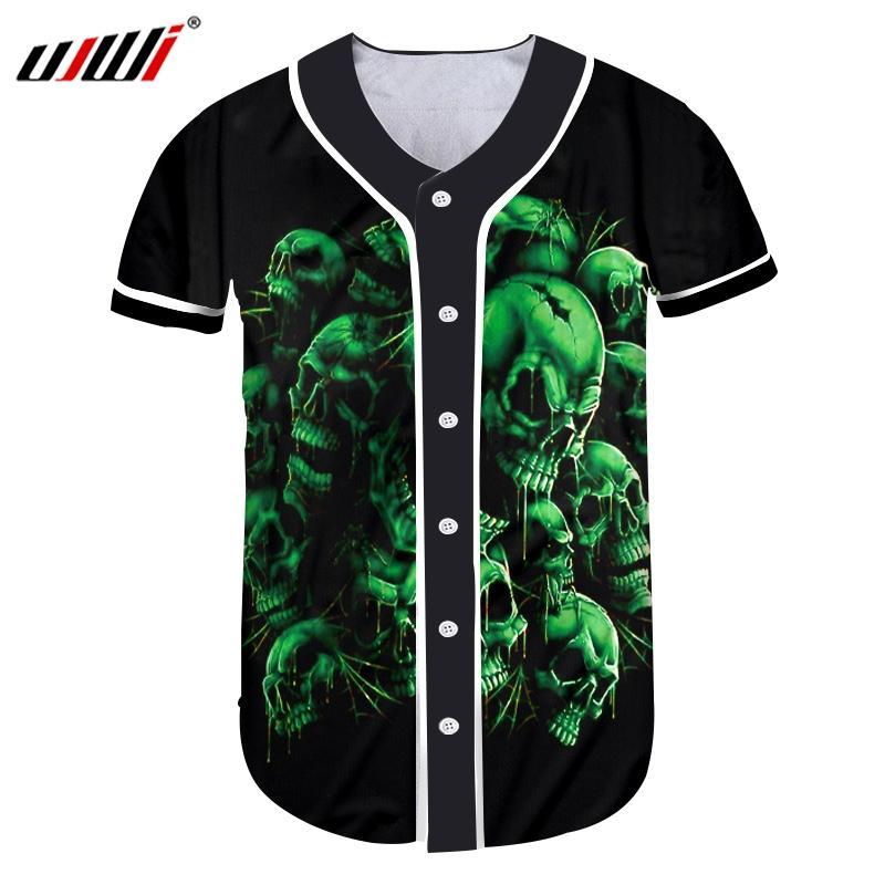 Yeni Geliş Erkekler Düğme Tişört Serin Baskı Yeşil Kafatası 3d Tişört Man Vücut Geliştirme Fitness Kısa Kollu Beyzbol