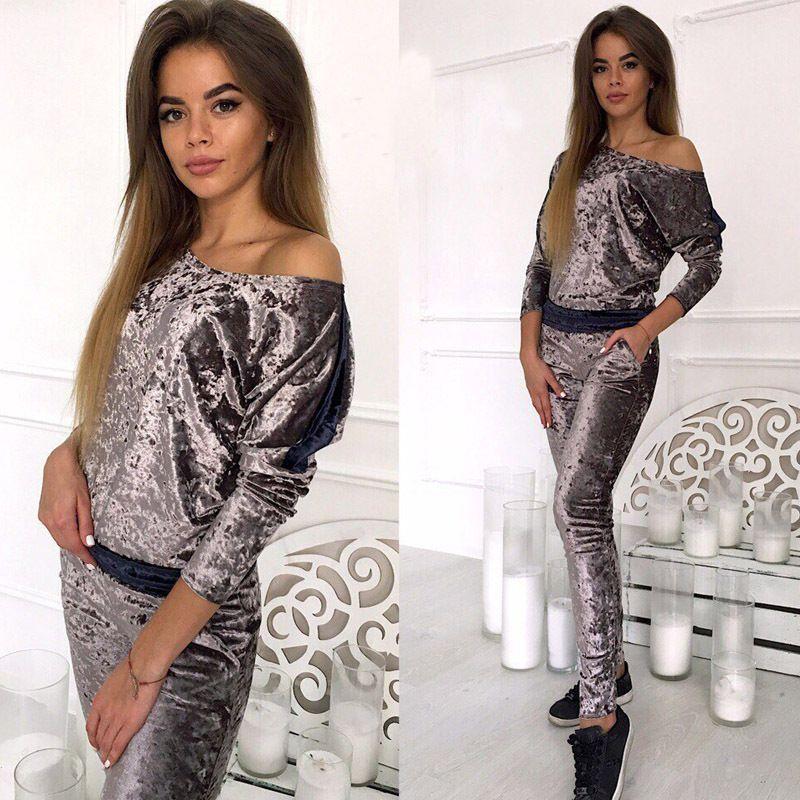 Fashion Slim Women Velvet Tracksuits Long Sleeved Tops Long Pants 2pcs Clothing Sets Sports Suits