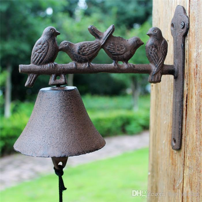 Rustic Brown Cast Iron Welcome Dinner Bell Birds On Perch Wall Mount Hanging Door Bell Primitive Bell Home Garden Yard Cottage Decor Vintage