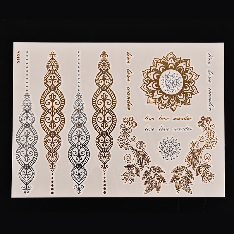 1PCS Body Paint tattoo taty Glitter gold tattoo stickers Metal temporary flash tattoos Arabic Henna Wholesale