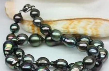 Потрясающие 10-11 мм натуральный таитянский барокко Черный жемчуг ожерелье 18 дюймов 925 серебряная застежка