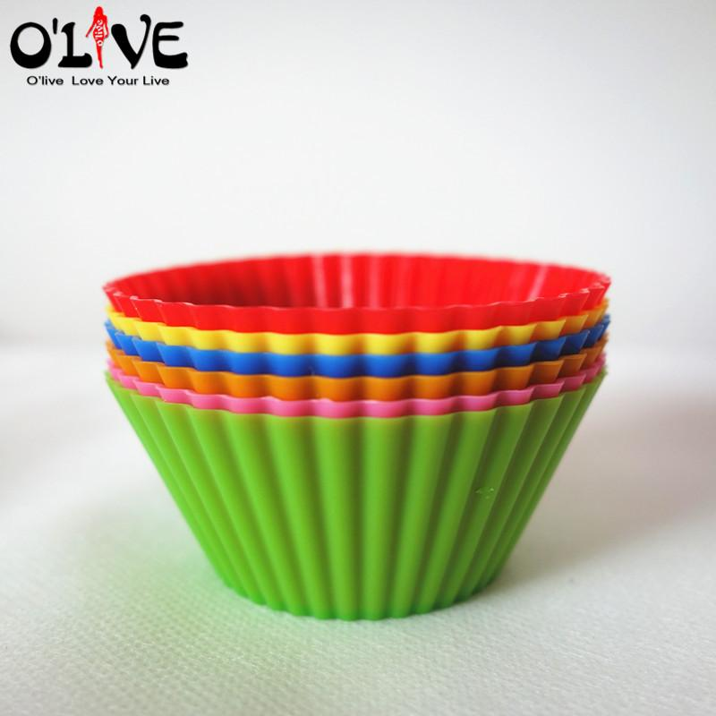 6 Pcs Silicone Mold Cake Stencil 7CM Round Mufiin Cupcake Silicon Cups Forms Silicone Bakeware Baking Partry Tools Kitchen