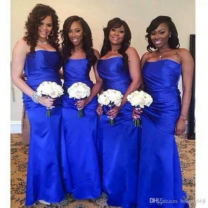 2020 más nuevo del azul real de largo vestido de dama de satén sirena del amor Criada de las novias vestidos de noche por encargo del traje de soiree