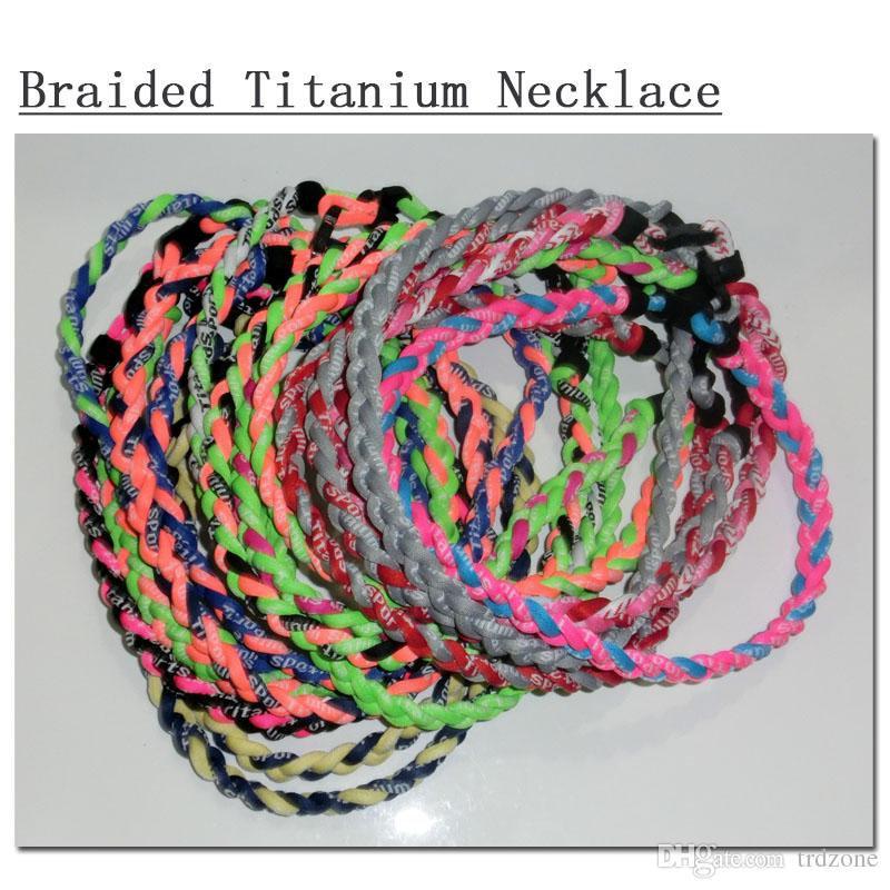 "2018 Tornado Titanium Sports Braided Rope Necklace 18'',20''22"""