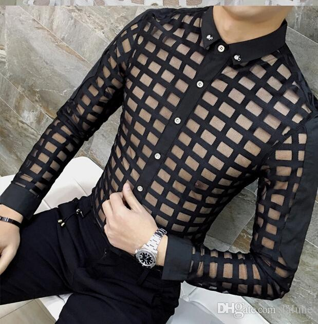 Casual Shirt for Men Fashion Lace See Through Plaids Shirts Male Shirt Clothing Clothes Tops for Man Single Breasted Free Shipping