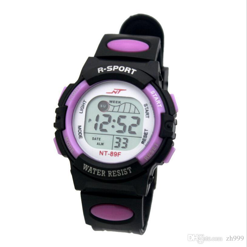 Free shipping shatter-resistant outdoor sports electronic watch led children's watch colorful color luminous digital display table new whole