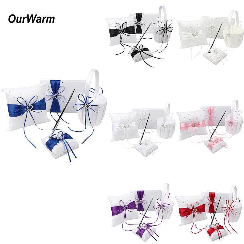 Ourwarm 4pcs / Lot 웨딩 플라워 소녀 바구니 링 베개 방명록 및 서명 펜 세트 로맨틱 한 웨딩 장식