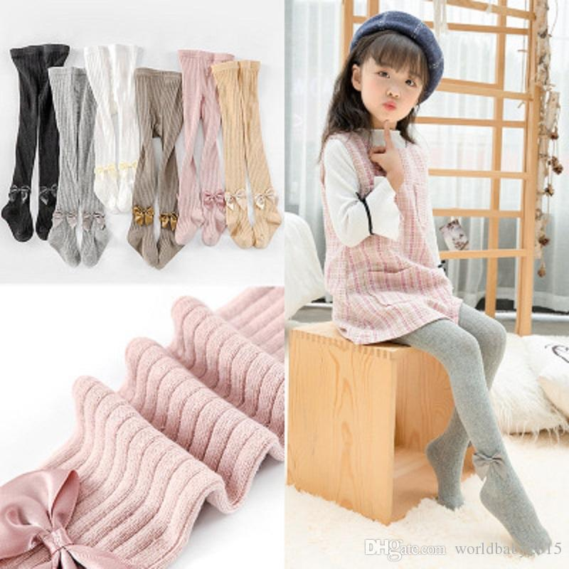 Cute Infant Tights Girls Leggings Warmer Children's Baby Fall Stockings Cute Cotton Tights With Bowknot