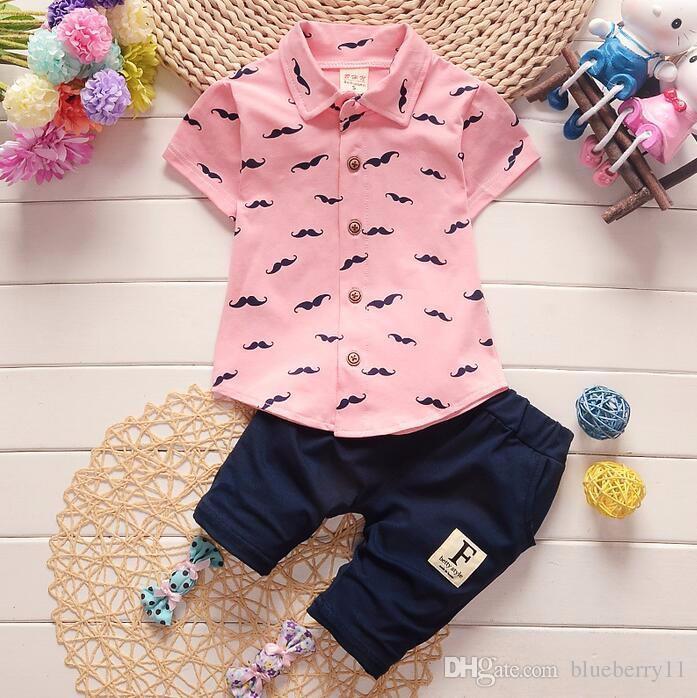 Cute Summer Baby Boys Clothes Suits Cotton Short Sleeve Kids Shirt Pants 2 Pcs Casual Suits Children Clothing Sets White