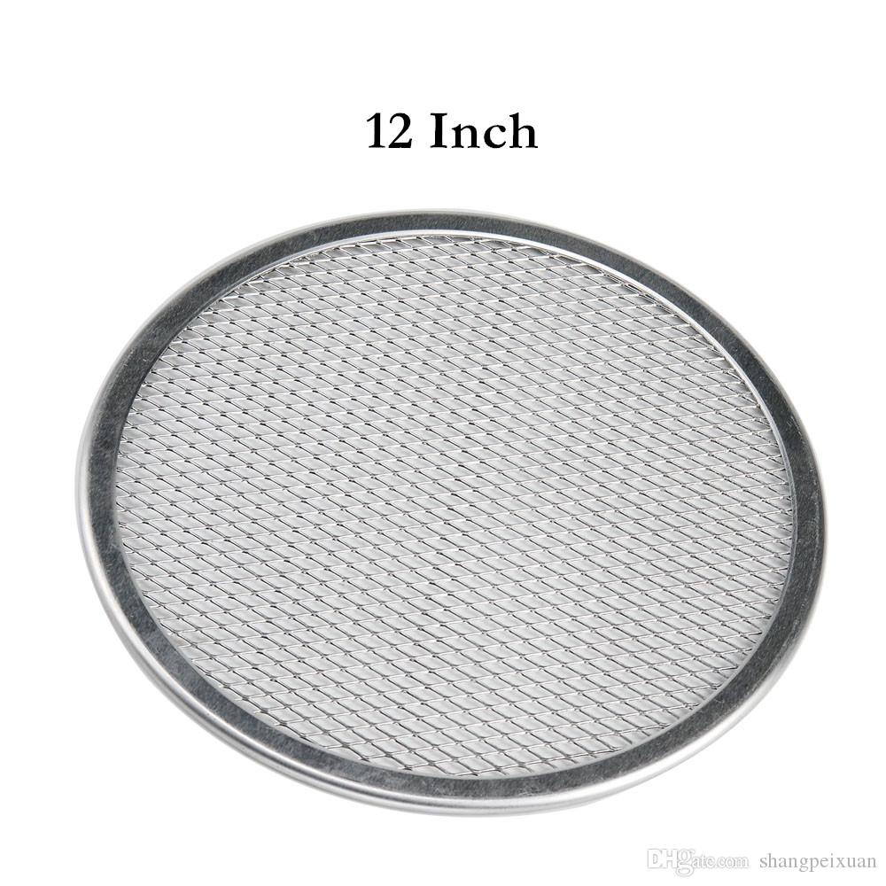 12 Inch Baking Screen Aluminum Pizza Pan Round Chef Baking Dish Commercial Microwave Crispers