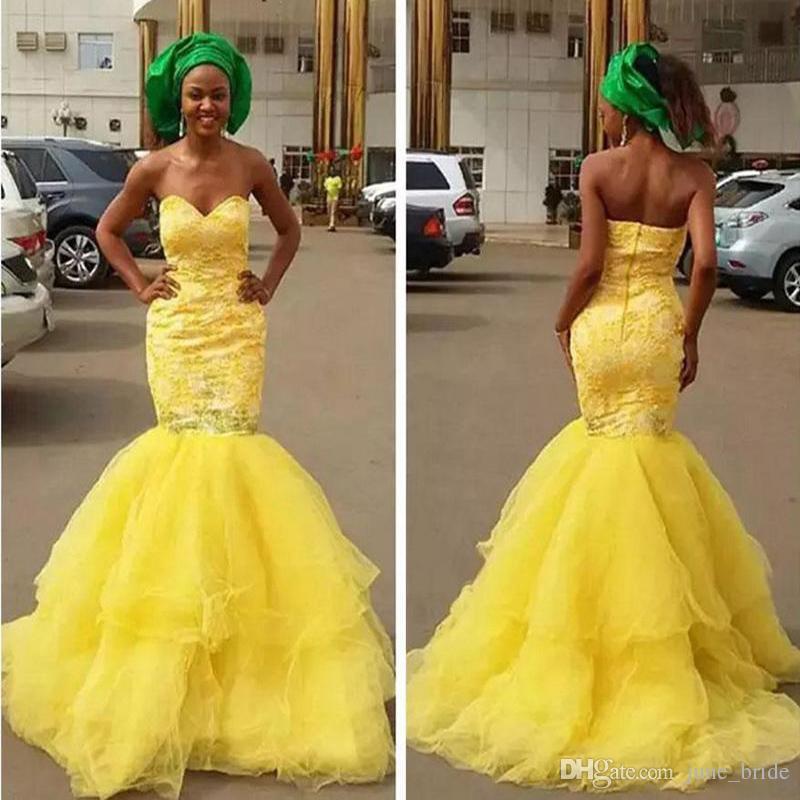 Großhandel 2018 African New Lace Meerjungfrau Gelb Prom Kleider ...