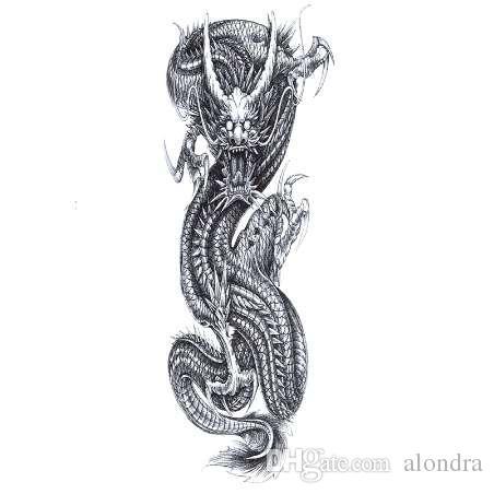 الصين التنين ماء الأوشام المؤقتة الرجال كامل الذراع فلاش الوشم فن الجسم المتناثرة الوشم ملصق الوشم الأكمام وهمية