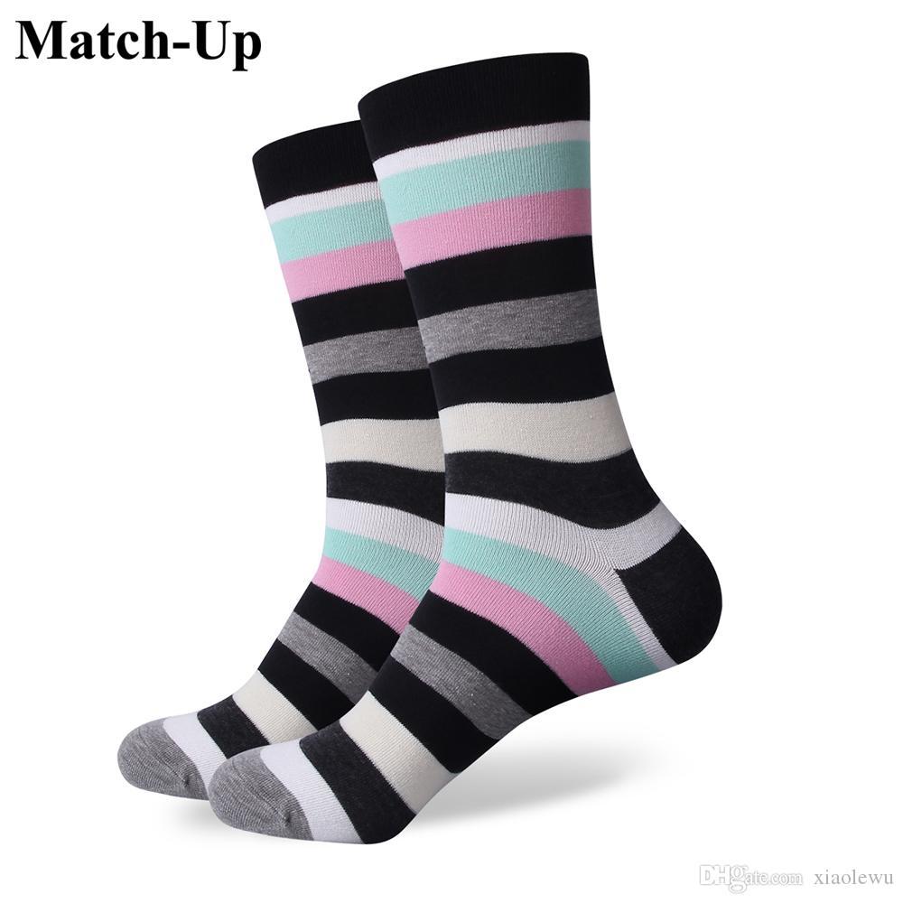 2016 homens de algodão penteado marca meias masculinas, listra colorida vestido meias, tamanho dos EUA (7.5-12) 305