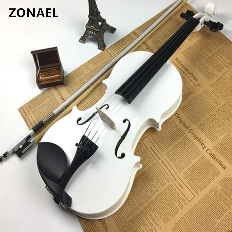 wholesale 4/4 Full Size Natural Acoustic Violin Fiddle with Case Bow Rosin Musical Instrument Basswood v001