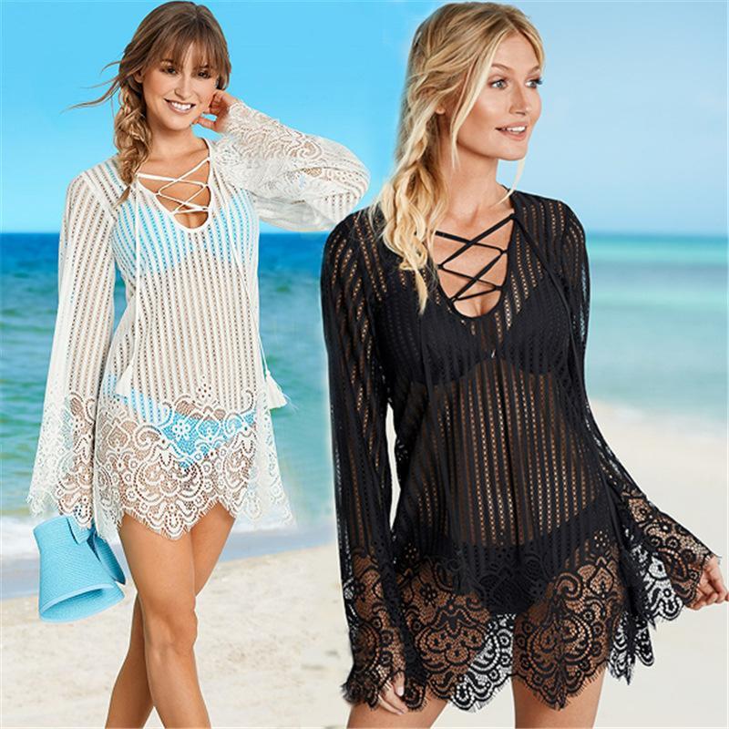 Pareo Beach Nero Bianco Pizzo Coprire Sexy Bikini Swimwear Donne Robe De Plage Beach Cardigan Costume da bagno Coprire Ups