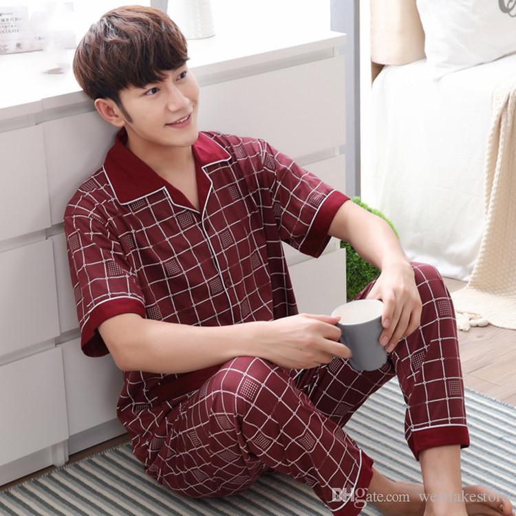 Homens verão pijama set vermelho sleepwear terno dos homens pijama de manga Curta pijama dos homens conjuntos de algodão Xadrez sleepwears coton dos homens 3XL