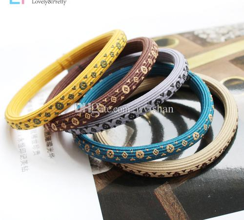 Hot selling fashion mark Headwear printed hair ring hair cord durable high elastic rubber band simple personality Counter gift