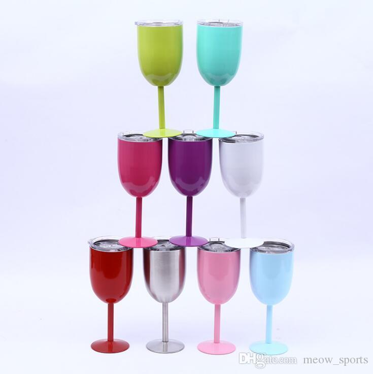 뚜껑 10온스 진공 (304) 스테인레스 스틸 칵테일 유리 와인 잔 와인 컵 더블 벽 잔