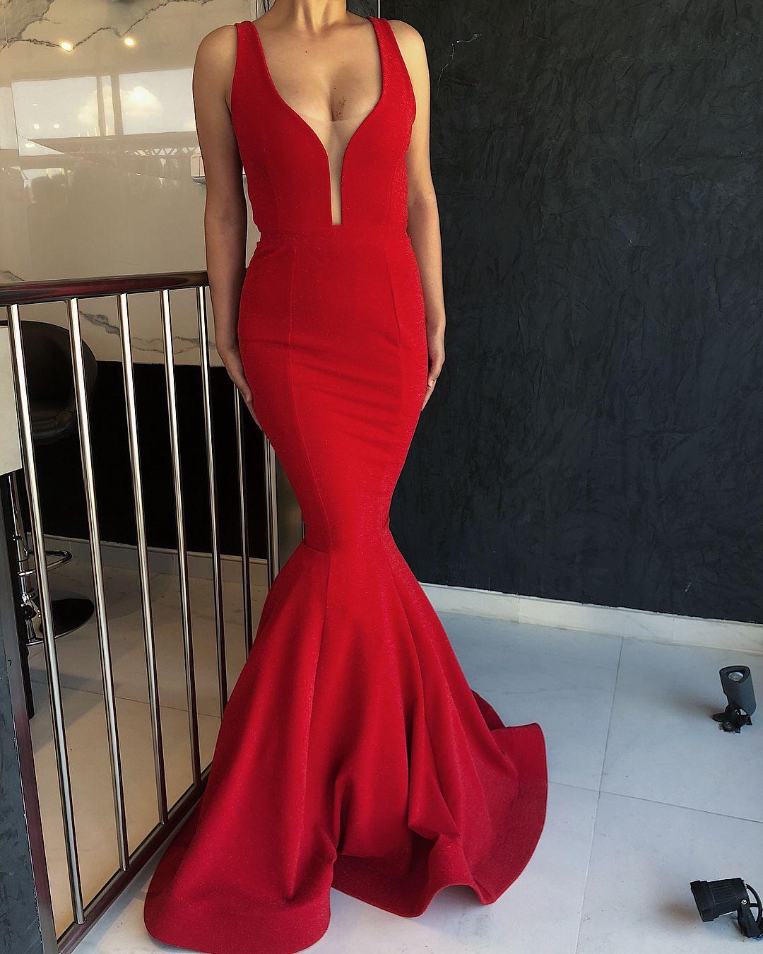 Longo Red Comprimento 2018 Simples baratos Mermaid Prom Vestidos V Neck Backless Andar Formal Prom Vestidos Vestidos Yousef aljasm