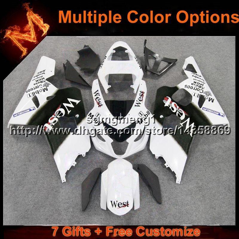 Capot de moto 23colors + 8Gifts ouest blanc pour Suzuki 04 05 GSX-R600750 2004-2005 K4 ABS kit de coiffage en plastique