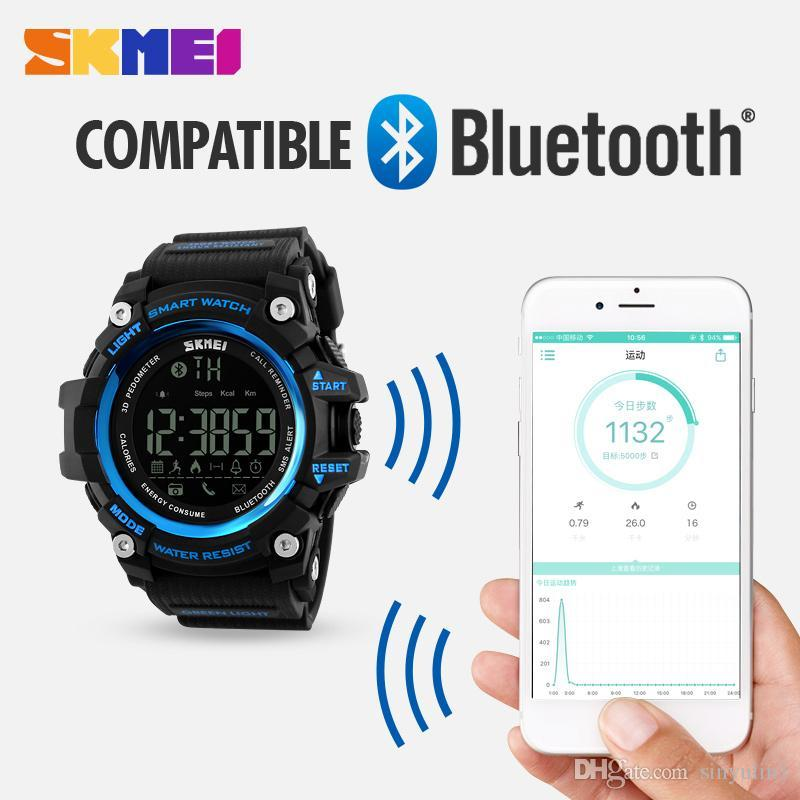2018 SKMEI Men Smart orologio pedometro calorie cronografo moda sport all'aria aperta orologi bluetooth 50M orologi da polso digitali impermeabili