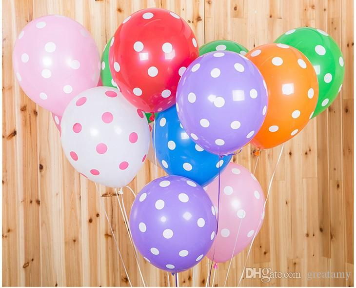 100pcs/lot 12inch 2.8g balloons polka dots printing candy color kids birthday party decoration balloon wedding party room decorations