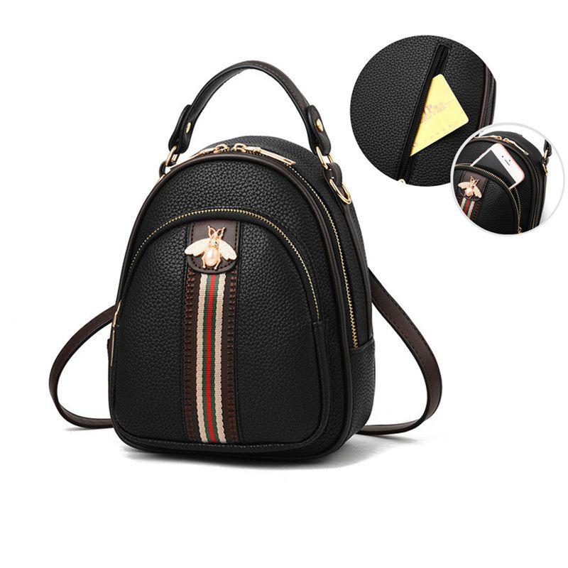 Новый 2018 Девушка мини-рюкзак высокое качество кожаный дизайн женщины Рюкзак школьный мешок сумка небольшие рюкзаки cartable scolaire Y18100704
