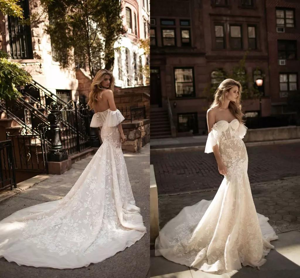 Berta Mermaid Wedding Dresses Off Shoulder Short Sleeves Lace Appliques Summer Wedding Dresses Bridal Gowns Court Train robe de mariée