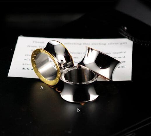 Nueva Llegada Moda Señora 316L Acero de Titanio Superficie lisa Compromiso de Boda Ama Anillo 18K Anillos Anchos Chapados en Oro Size6 - 9