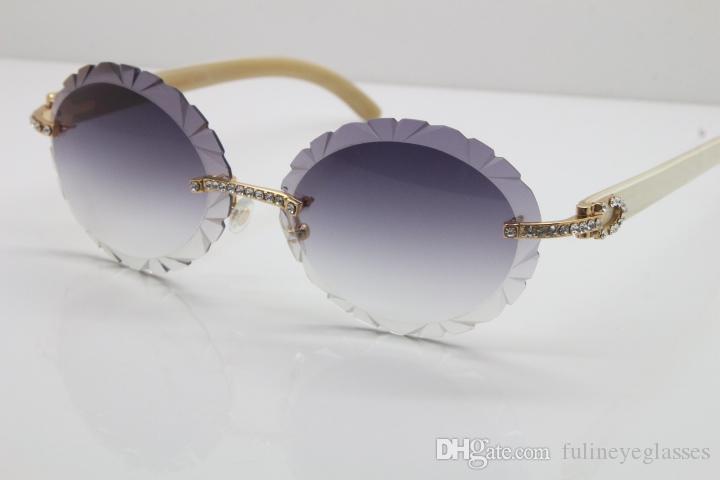 Rimless Carved lens T8200761 Vintage Diamond Sunglasses Black Genuine Natural Horn Sunglasses fashion sunglasses for men C Decoration gold