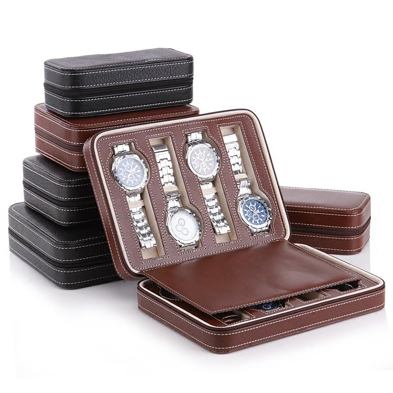 Luxury 2-8 Grids Leather Watch Box Portable travelling Watch bag Storage Watches Display Box Case Jewelry Collector Case