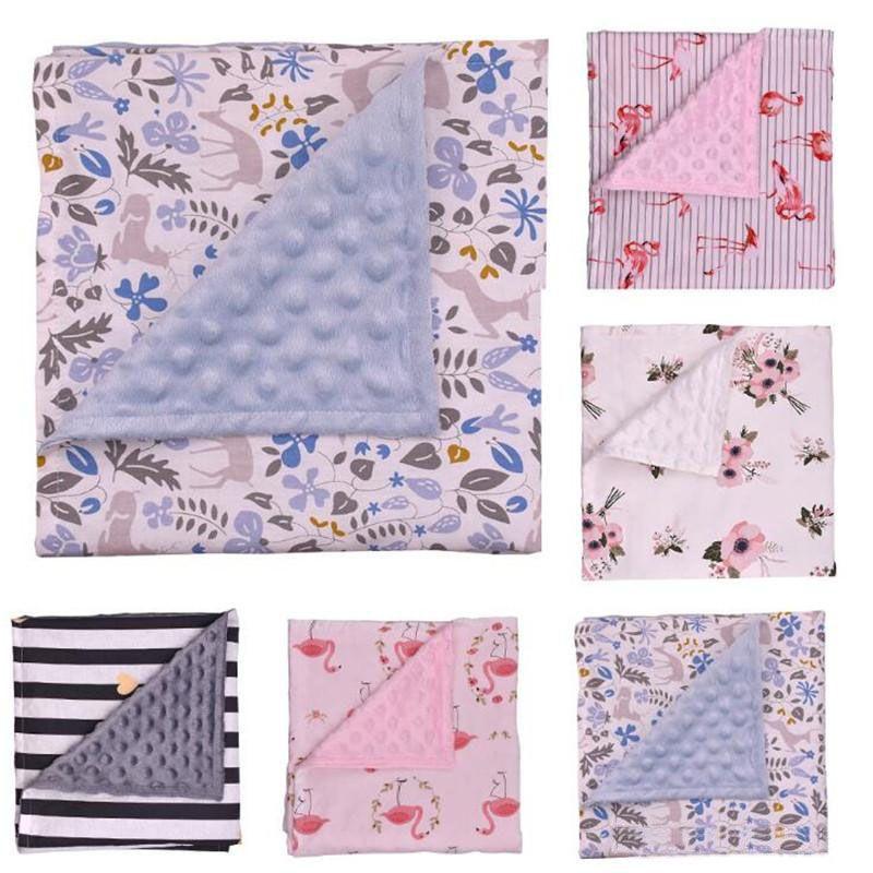 Baby Blankets Floral Print Swaddling Minky Bubble Dot Blanket Newborn Cotton Wrap Infant Parisarc Sleepsacks Bedding Bathing Towels
