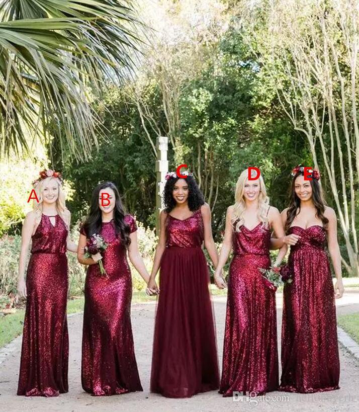 플러스 사이즈 부르고뉴 신부 들러리 드레스 같은 색상 다른 스타일 정장 가운 우아한 저녁 공식적인 드레스 2018