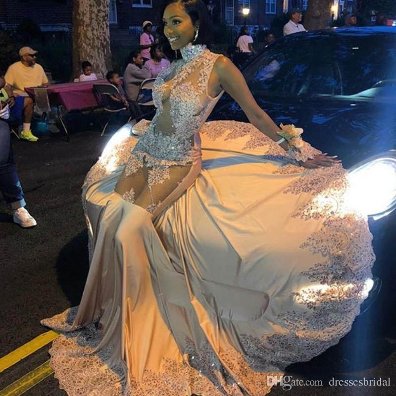 Illusion corsage robes de bal appliques de dentelle paillettes sirène col haut glamour voir à travers balayage train noir filles robes de soirée