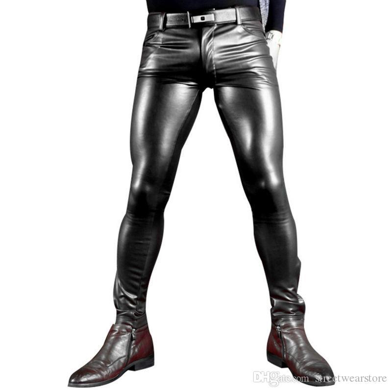 Sexy Men Faux Leather Pu Matte Shiny Fashion Pants Role Men X Soft Skinny Gay Pants Zipper Open Pencil Pants Gay Wear