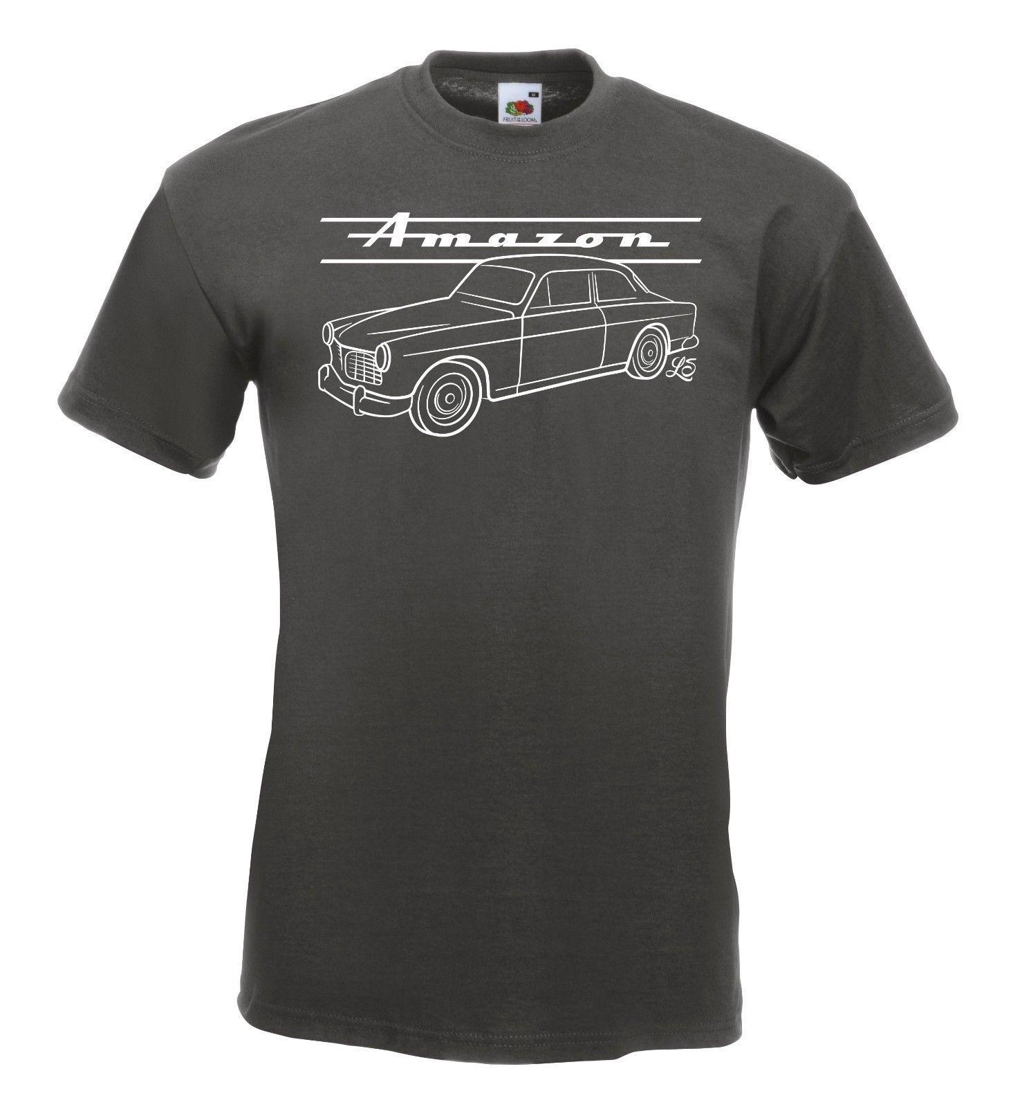 T-Shirt - Volvo Amazon mit Retro-Schriftzug - P 121 Serie 120/130 Schweden