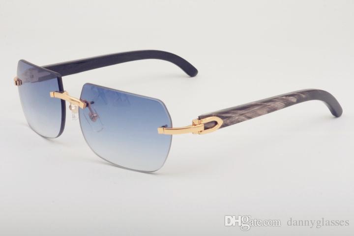 Vendas diretas Natural Horn Misto 8100906 Óculos de sol personalizados Moda Padrão Black Horns, tamanho: 56-18-140mm óculos de sol,