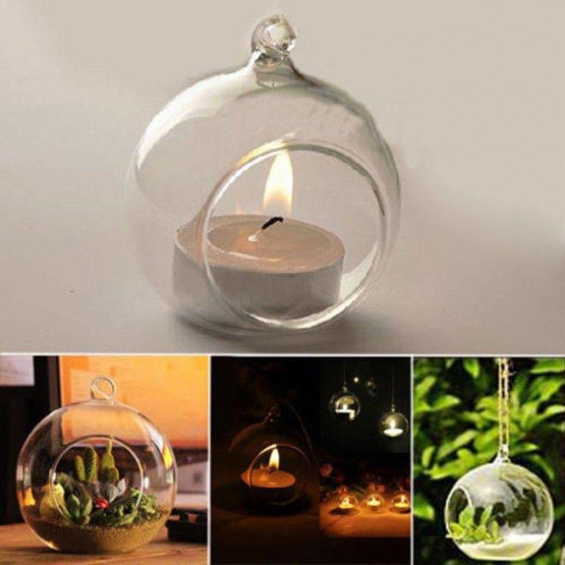 Vidrio de cristal de Borosilicate que cuelga el candelero Candlestick Home Wedding Party Dinner Decor Soporte de la vela de la hierba