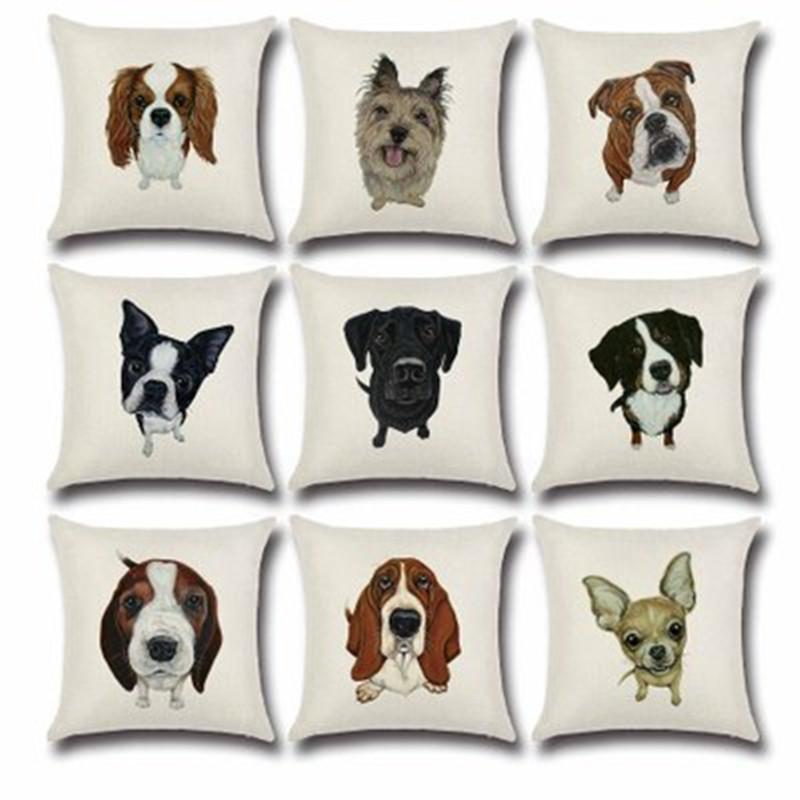 BZ501 Croquis chien série motif Oreiller Housse de Coussin Taie D'oreiller Canapé / Voiture Coussin / Oreiller Maison Textiles fournitures