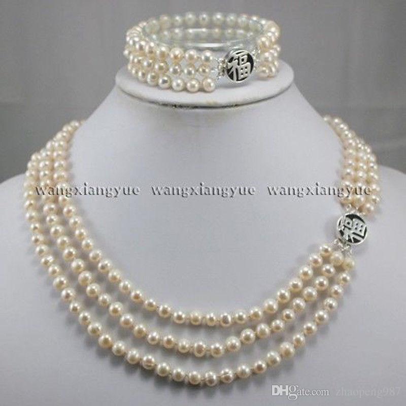 3Rows подлинный натуральный 7-8 мм белый Akoya культивированный жемчуг ожерелье браслет набор